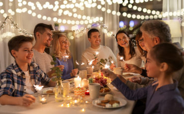 celebration, holidays and christmas concept – happy family with