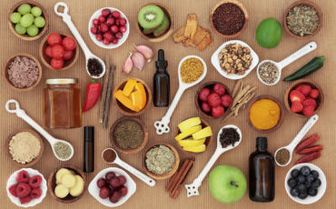 Large food and alternative medicine selection for cold remedy to